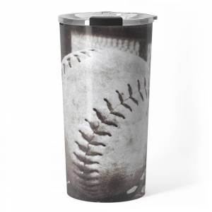 Society6 Softball on the Bench in Sepia Travel Mug by leahmcphail