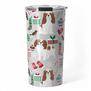 Society6 Cavalier King Charles Spaniel Christmas Pattern Gift For Dog Lover Pet Friendly Pet Portrait Travel Mug by petfriendly