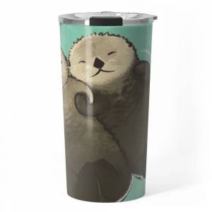 Society6 Significant Otters - Otters Holding Hands Travel Mug by studiomarimo