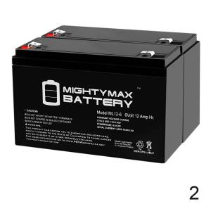 Mightymaxbattery ML12-6 .250TT  – 6V 12AH Battery Replaces 10ah Enduring 3FM10 T2, 3-FM-10 T2 - 2 Pack