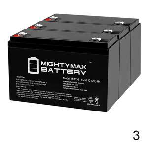 Mightymaxbattery ML12-6 .250TT  – 6V 12AH Battery Replaces Rhino SLA10-6 T25, SLA 10-6 T25 - 3 Pack