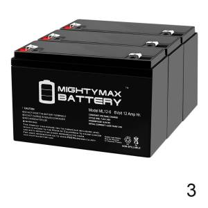 Mightymaxbattery 6V 12AH F2 UPS Battery Replaces Leoch DJW6-10 T2, DJW 6-10 T2 - 3 Pack