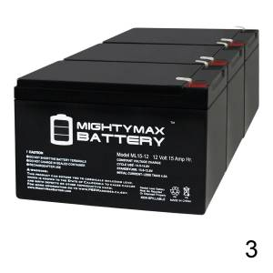 Mightymaxbattery ML15-12 12V 15AH F2 BATTERY REPLACEMENT FOR Razor E500S, E500S 13114099 - 3 Pack