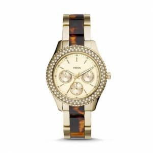 Fossil Stella Multifunction Two-Tone Stainless Steel and Acetate Watch Gold   Fossil®