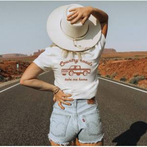 Oat Collective Country Roads Take Me Home Graphic Tee Vintage White