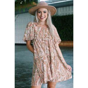 hayden Houston Puff Sleeve Paisley Dress Salmon Multi