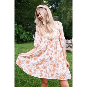 Hayden Elysa Floral Tie Sleeve Dress Ivory   Extended Sizes Available