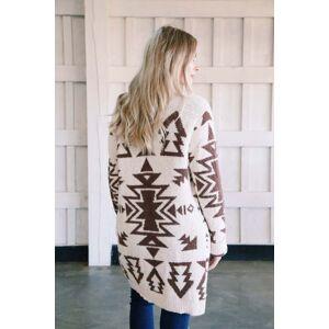 in loom Tackett Tribal Print Cardigan Cream/Taupe
