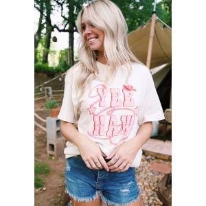 Sweet Claire Yee Haw Oversized Graphic Tee Natural