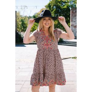Savanna Jane Daria Embroidered Babydoll Dress Mocha Leopard   Extended Sizes Available