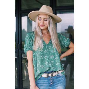 Lush Lauren Button Down Blouse Sage Print