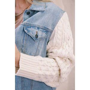 POL Clothing Inc. Kalen Sweater Sleeve Denim Jacket Denim