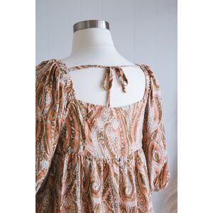 Hayden Arya Paisley Puff Sleeve Dress Salmon Multi   Plus Size