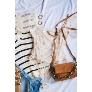 Le Lis Golden Days Mesh Bodysuit Cream/Gold