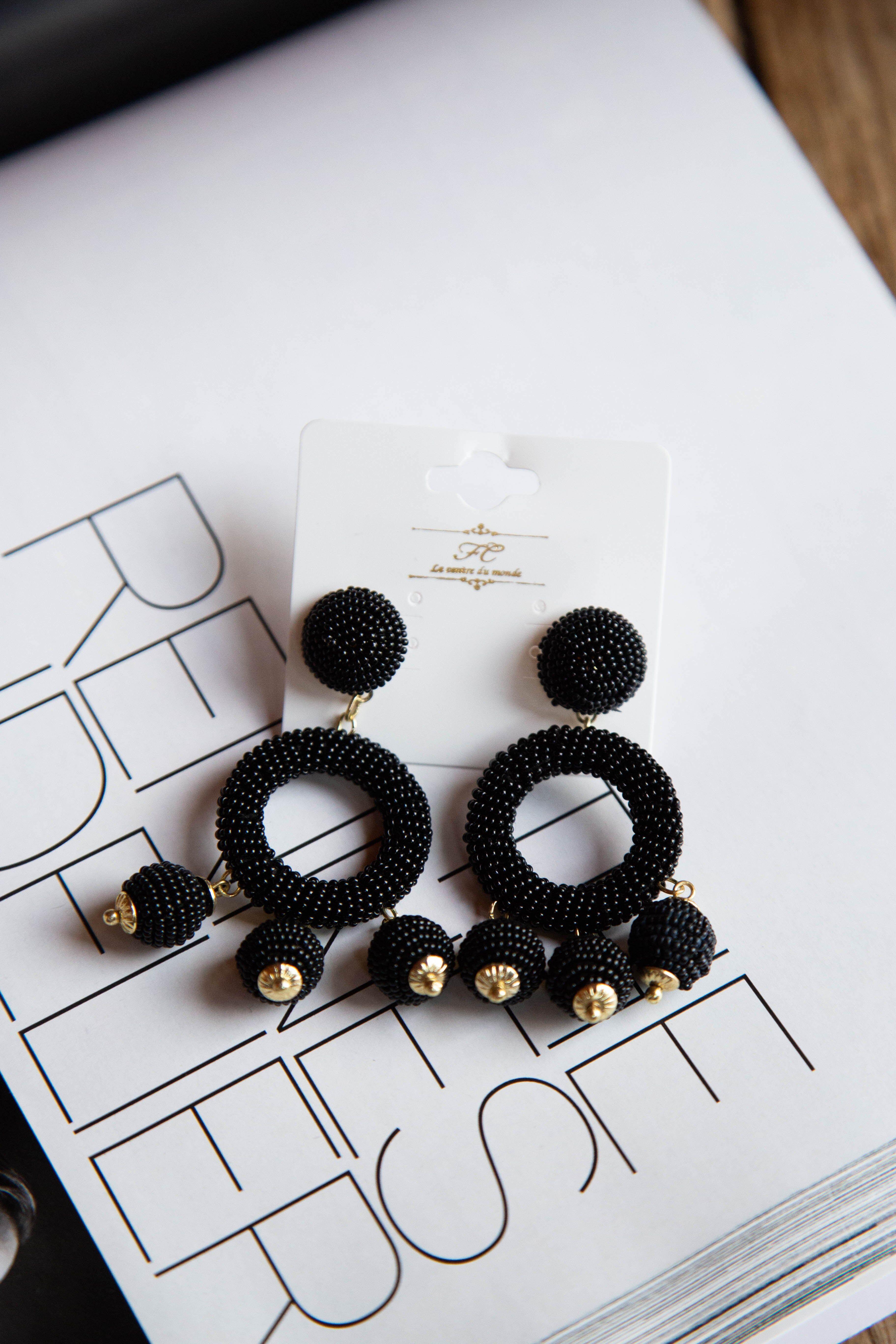 North & Main Clothing Company Seed Bead Circle w/Charms Earring Black