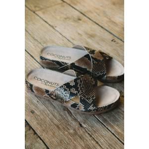 Coconuts by Matisse Yin Yang Slide On Sandal Tan Snake   Coconuts by Matisse