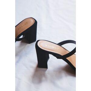 Bamboo Kickback Square Toe Heel Black Nubuck