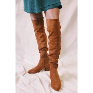 3B Shoes Ccocci Wynter Faux Suede Over The Knee Boots Tan