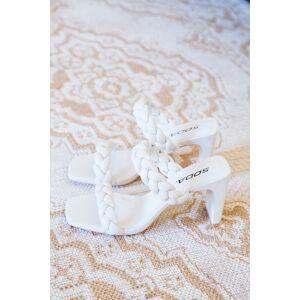3B Shoes CCOCCI Found Braided Squared Toe Heel Sandal Bone
