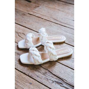 Bamboo Kick Braided Double Band Sandal White