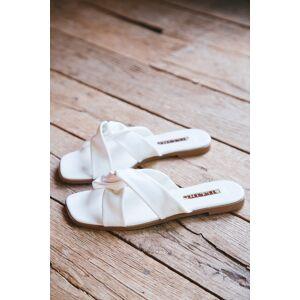 Billini Leta Crossover Slide Sandal White   Billini