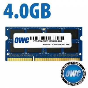 Other World Computing 4.0GB PC-8500 DDR3 1066MHz SO-DIMM 204 Pin SO-DIMM Memory Module PC3-8500 OWC8566D6R3S4GB