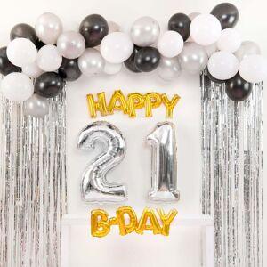 Shindigz Black and Silver Happy 21st B-Day Balloon Set