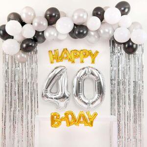 Shindigz Black and Silver Happy 40th B-Day Balloon Set