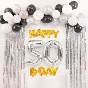 Shindigz Black and Silver Happy 50th B-Day Balloon Set