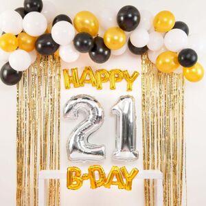 Shindigz Black and Gold Happy 21st B-Day Balloon Set