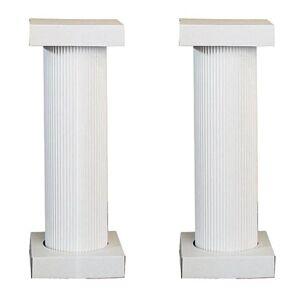 Shindigz 4 ft. White Fluted Pedestal Pair