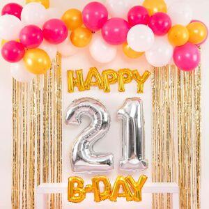 Shindigz Pink and Gold Happy 21st B-Day Balloon Set