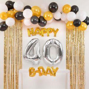 Shindigz Black and Gold Happy 40th B-Day Balloon Set