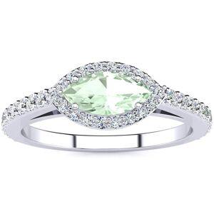 SuperJeweler 3/4 Carat Marquise Shape Green Amethyst & Halo Diamond Ring in 14K White Gold (2.7 g),  by SuperJeweler