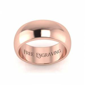 SuperJeweler Rose Gold (6.5 g) 8MM Comfort Fit Ladies & Men's Wedding Band, Size 4.5, Free Engraving by SuperJeweler
