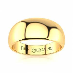 SuperJeweler Yellow Gold (4.2 g) 8MM Heavy Tapered Ladies & Men's Wedding Band, Size 5.5, Free Engraving by SuperJeweler