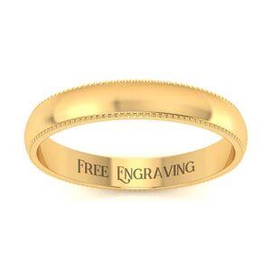 SuperJeweler 14K Yellow Gold (1.9 g) 3MM Milgrain Ladies & Men's Wedding Band, Size 7, Free Engraving by SuperJeweler
