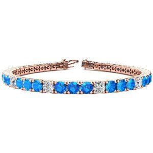 SuperJeweler 11 Carat Blue Topaz & Diamond Alternating Tennis Bracelet in 14K Rose Gold (12 g), 7 Inches,  by SuperJeweler