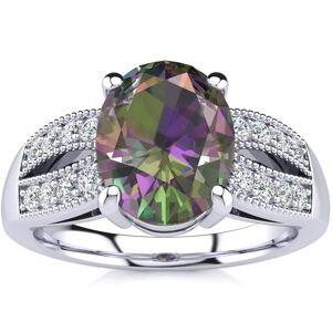 SuperJeweler 2 1/3 Carat Oval Shape Mystic Topaz & 16 Diamond Ring in 14K White Gold (6 g), , Size 4 by SuperJeweler
