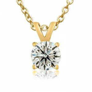 SuperJeweler 1/2 Carat 14k Yellow Gold (1.3 Grams) Genuine Natural Colorless Diamond Necklace, F/G Color, 18 Inch Chain by SuperJeweler