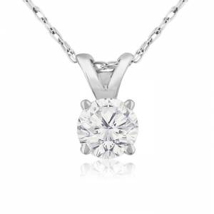 SuperJeweler 1/3 Carat 14k White Gold Diamond Pendant Necklace,  Color, SI3 Clarity, 18 Inch Chain by SuperJeweler