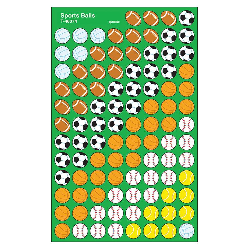 Trend Enterprises T-46074-12 Supershapes Stickers Sports Ball - Pack of 12