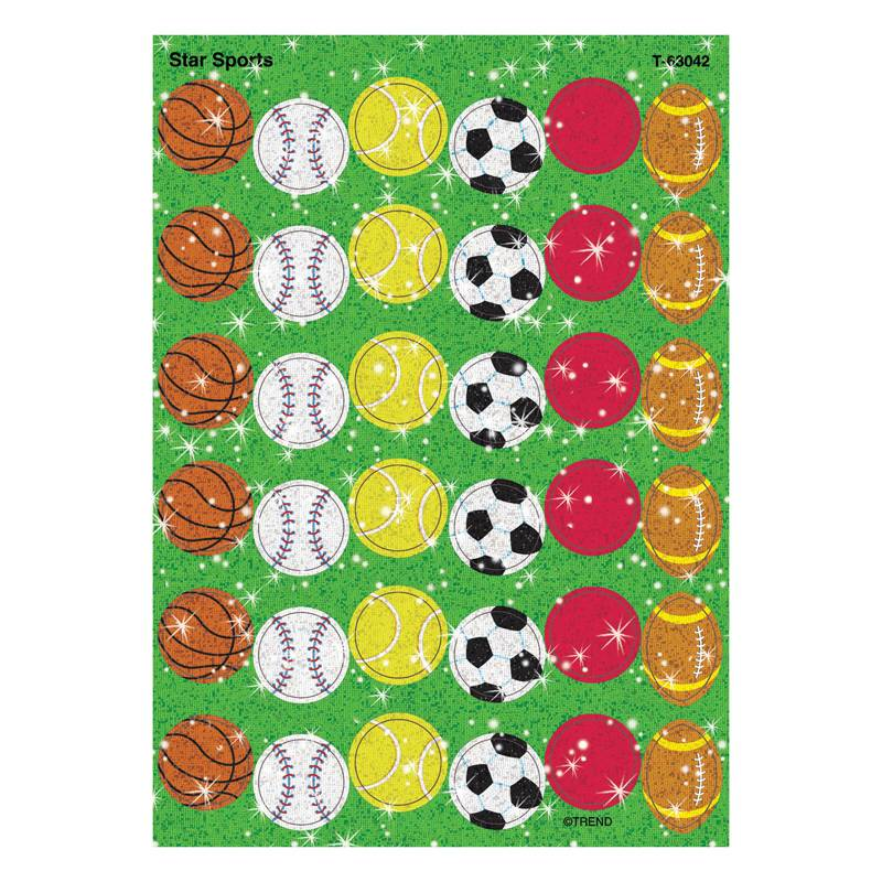 Trend Enterprises T-63042-12 Sparkle Stickers Star Sports - Pack of 12