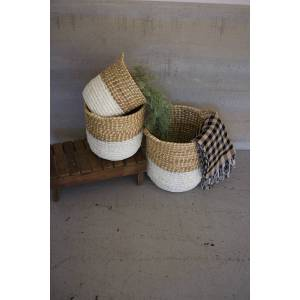 Kalalou A5943 14 x 16 in. White Dipped Seagrass Hampers with Handles - Set of 3