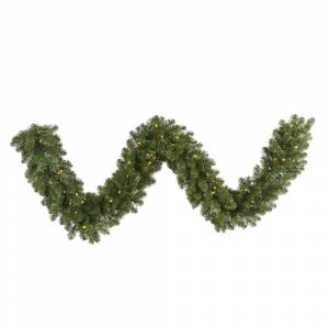 Vickerman G125515LED 50 ft. x 14 in. Grand Teton Artificial Green Christmas Garland with 600 Warm White LED Light