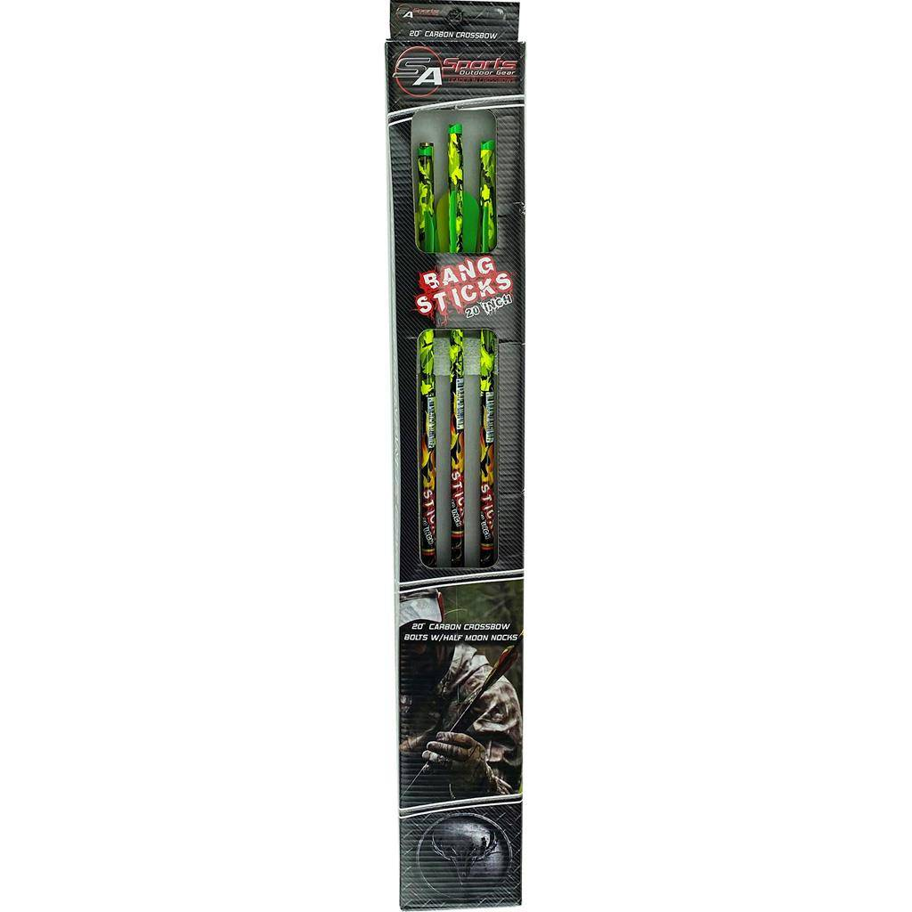 SA Sports 1403804 20 in. High Visibility Neon Green Bang Sticks Crossbow Bolt, Pack of 6