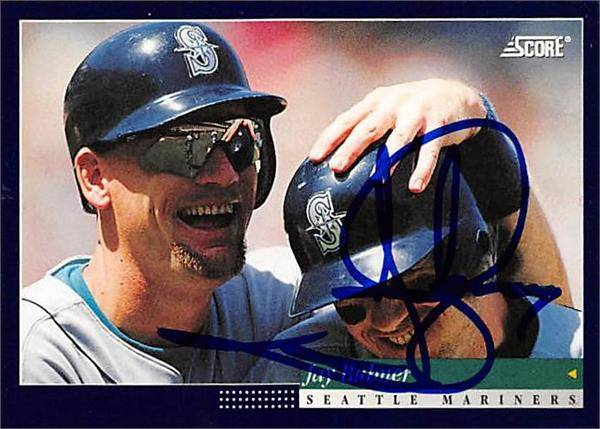 421541 Jay Buhner Autographed Baseball Card Seattle Mariners 1994 Score No.353