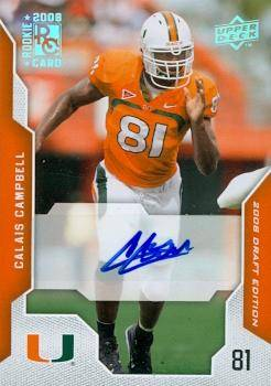 Autograph Warehouse Calais Campbell Autographed Football Card Rookie - University of Miami Hurricanes Now with Jacksonville Jaguars 2008 Upper Deck No.11 Certified