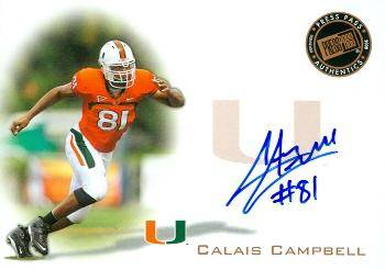Autograph Warehouse 517039 Calais Campbell Autographed Football Card Rookie - University of Miami Hurricanes Now with Jacksonville Jaguars 2008 Press Pass No.PPSCC