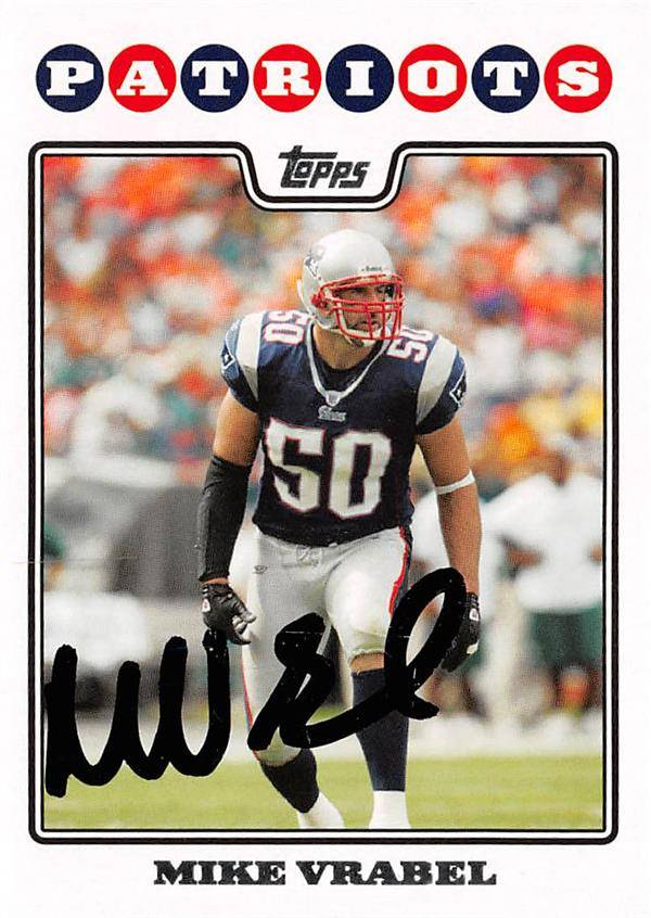571446 Mike Vrabel Autographed Football Card - New England Patriots Super Bowl Hero 2008 Topps - No.231